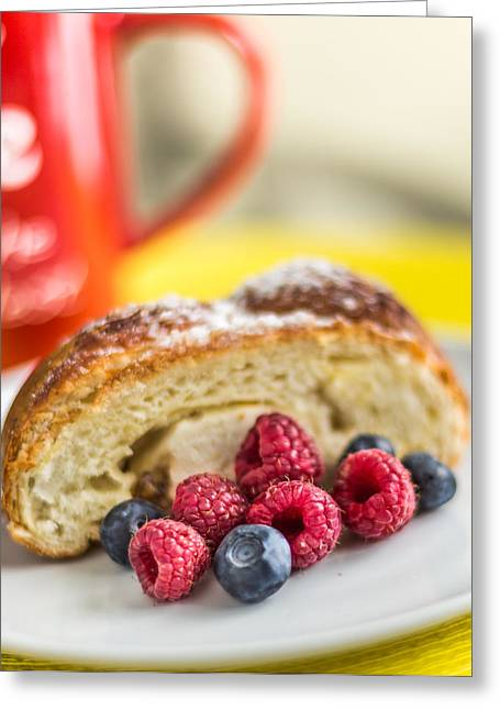 Cheese Pie And Berries On A White Plate Greeting Card by Anton Potapenko