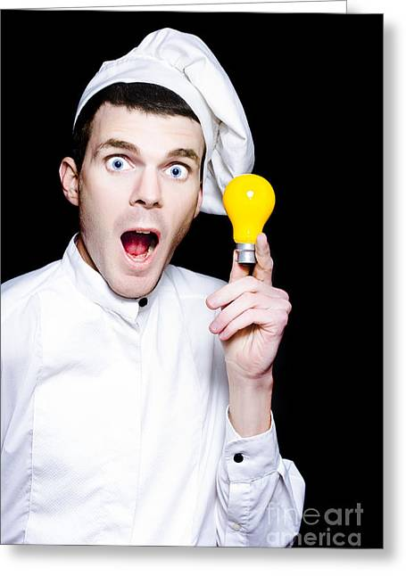 Chef With A Great Idea For A Winning Recipe Greeting Card by Jorgo Photography - Wall Art Gallery