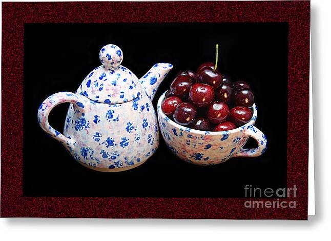 Cherries Invited To Tea 2 Greeting Card