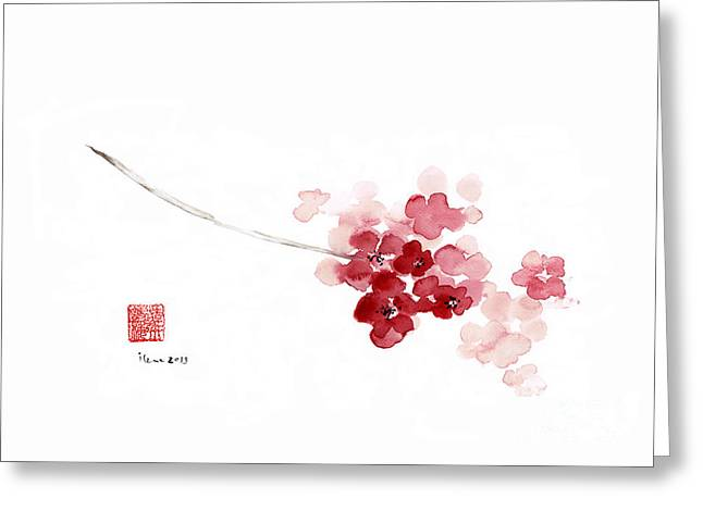 Cherry Blossom Sakura Pink Flower Flowers Delicate Branch Brown Watercolor Painting Greeting Card by Johana Szmerdt