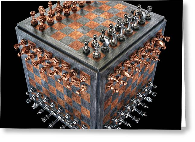 Chess Board In A Cube Shape Greeting Card