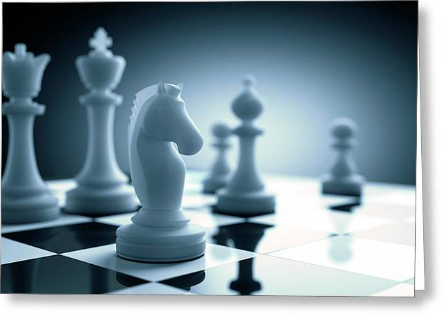 Chess Piece On Chess Board Greeting Card by Ktsdesign