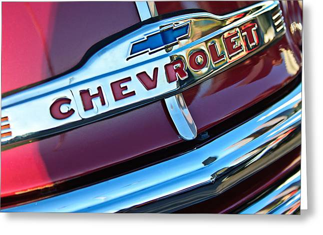 Chevrolet Pickup Truck Grille Emblem Greeting Card by Jill Reger