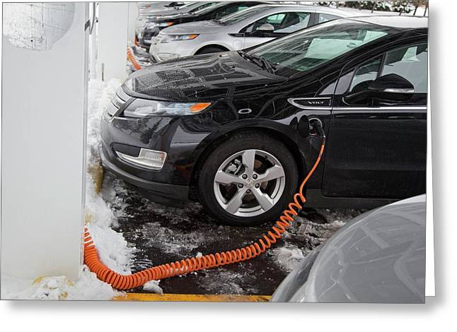 Chevrolet Volt Electric Car Charging Greeting Card