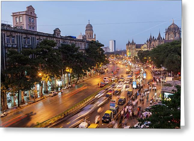 Chhatrapati Shivaji Terminus Train Greeting Card by Peter Adams