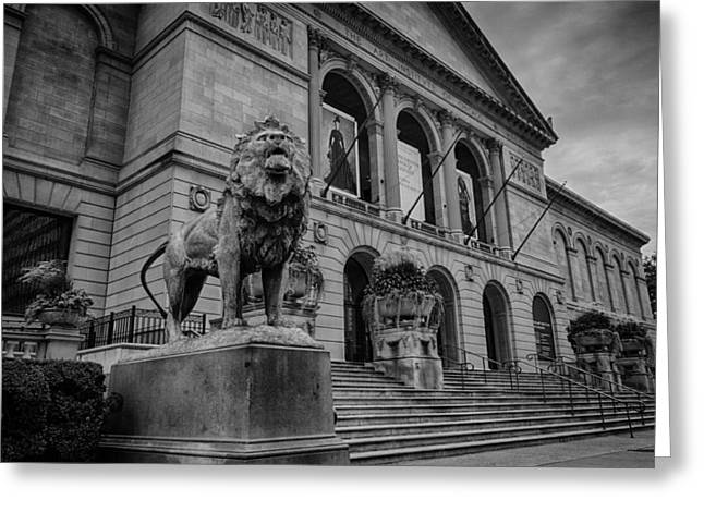 Chicago Art Museum Lion Greeting Card by Mike Burgquist