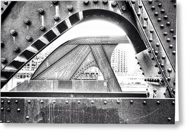 Chicago Bridge In Black And White Greeting Card