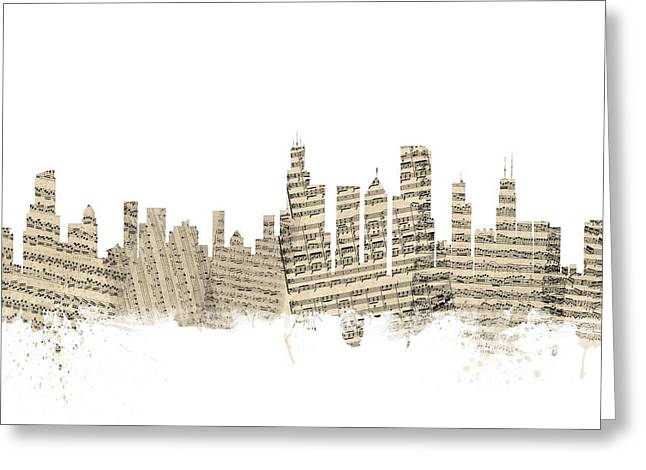 Chicago Illinois Skyline Sheet Music Cityscape Greeting Card by Michael Tompsett