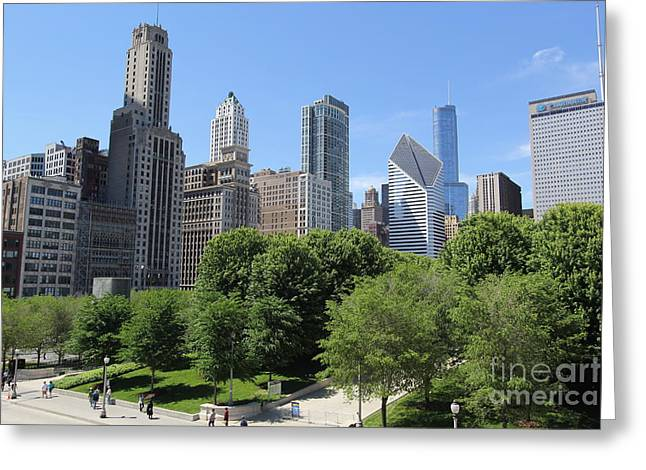 Chicago In Summer Greeting Card by Michael Paskvan