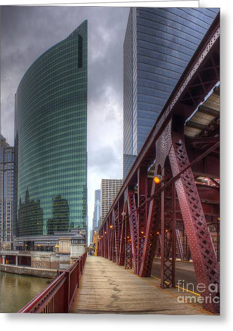 Chicago Loop From Lake Street Bridge Greeting Card by Twenty Two North Photography