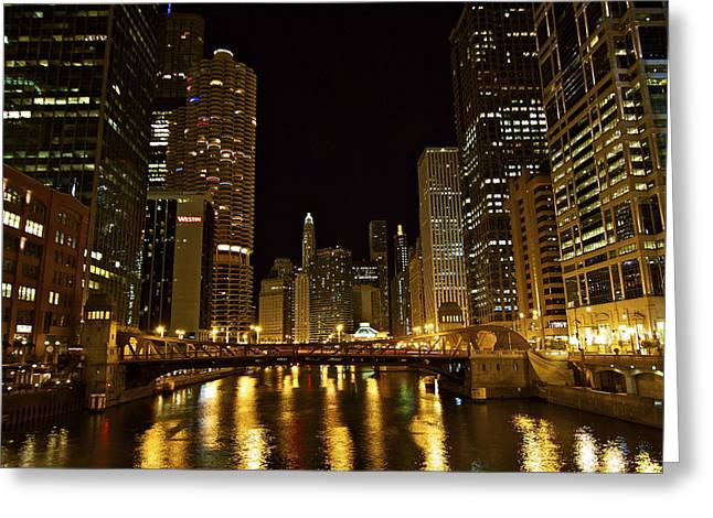 Chicago Nightscape Greeting Card by John Babis