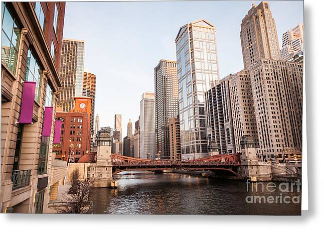 Chicago River Skyline At Lasalle Street Bridge Greeting Card by Paul Velgos