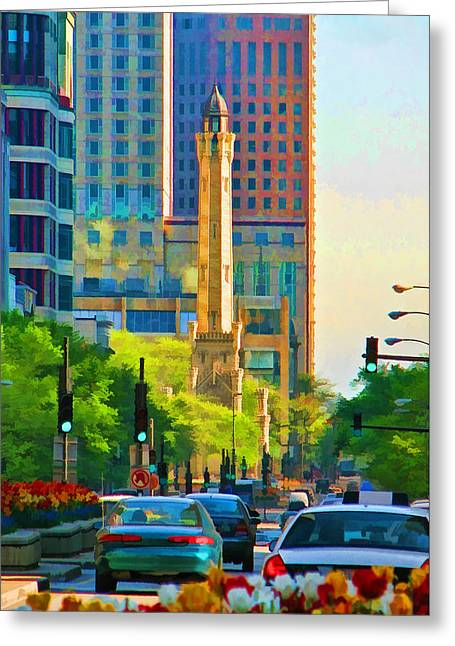 Chicago Water Tower Beacon Greeting Card by Christopher Arndt