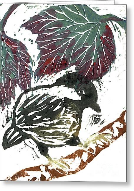 Chick A Dee  Block Print Greeting Card by Ellen Miffitt