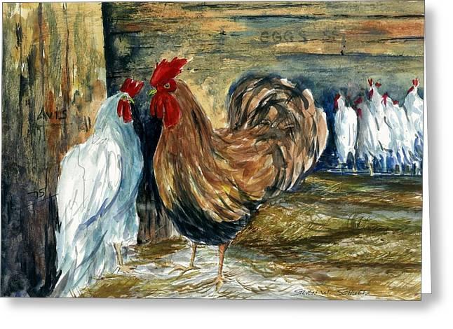 Chicken Coop Greeting Card by Steven Schultz