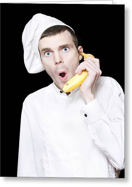 Chief Taking Restaurant Order Through Banana Phone Greeting Card by Jorgo Photography - Wall Art Gallery