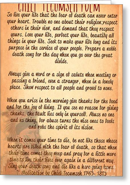 Chief Tecumseh Poem - Live Your Life Greeting Card by Celestial Images