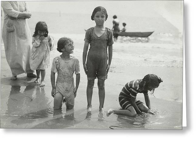 Children At Sea North Sea, The Netherlands Or Germany Greeting Card
