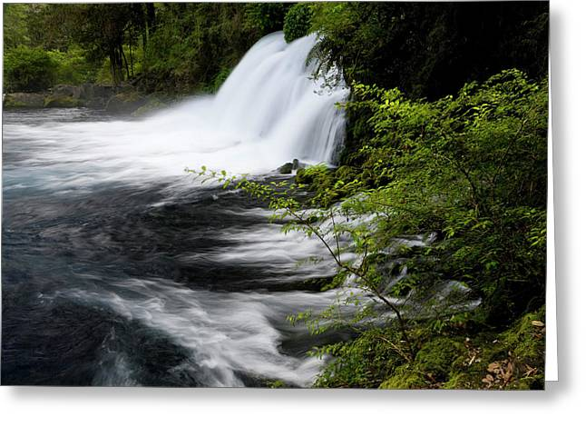 Chile South America Waterfalls At Ojos Greeting Card