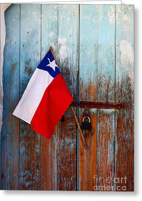 Chilean Flag On Church Door Greeting Card by James Brunker