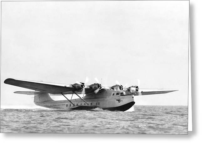 China Clipper Seaplane Greeting Card by Underwood Archives