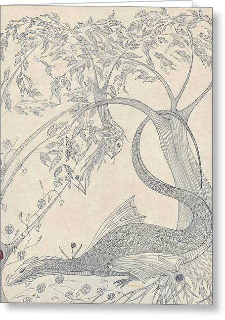 Greeting Card featuring the drawing China The Dragon by Dianne Levy