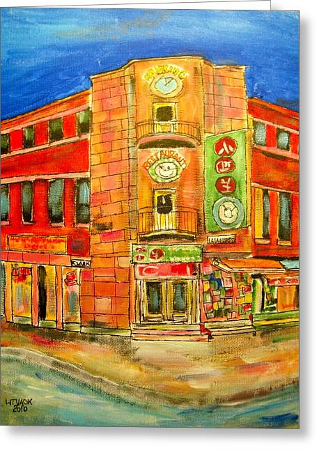 Chinatown Corners Greeting Card by Michael Litvack