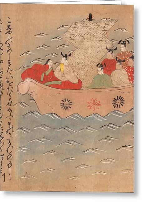 Chinese Envoys In A Boat Greeting Card by British Library