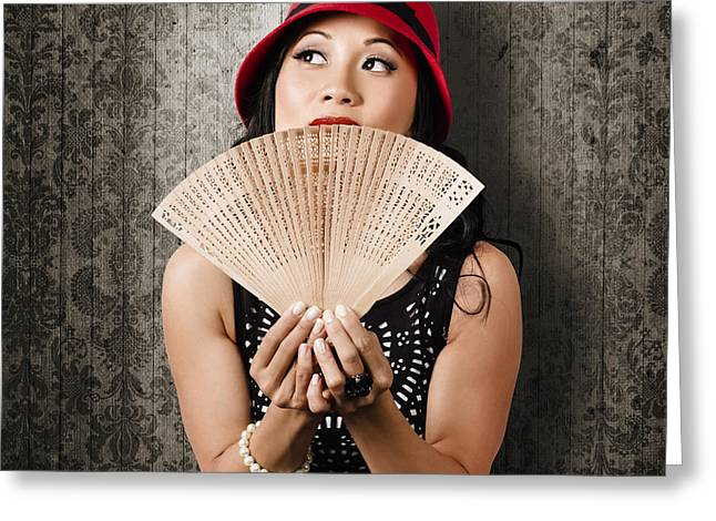 Chinese Girl Fanning Herself With Asian Hand Fan Greeting Card