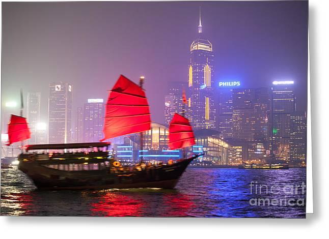 Chinese Junk Sail In Hong Kong Harbor At Night Greeting Card by Matteo Colombo