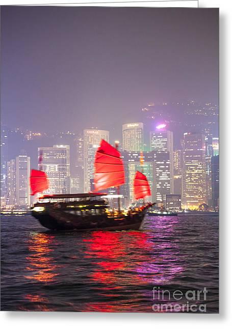 Chinese Junk Sail In Hong Kong Greeting Card by Matteo Colombo