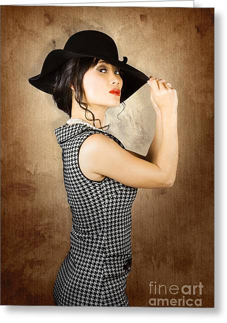 Chinese Woman Posing With Fashionable Summer Hat Greeting Card by Jorgo Photography - Wall Art Gallery