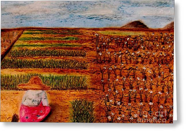 Chive Harvest Greeting Card by Ayasha Loya