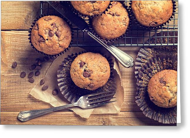 Choc Chip Muffins Greeting Card by Amanda Elwell