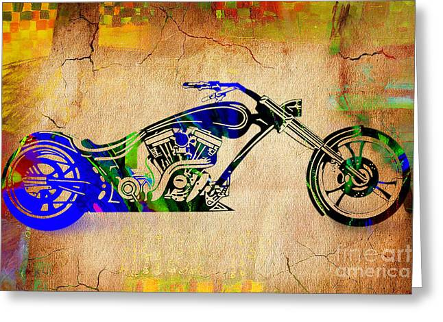 Chopper Motorcycle Greeting Card by Marvin Blaine