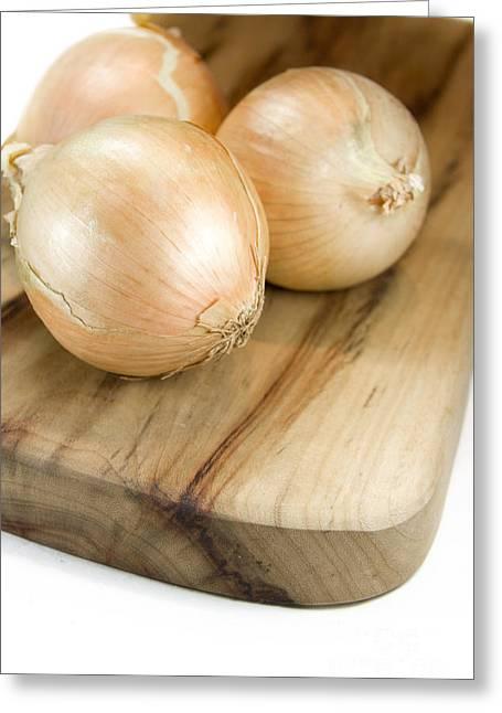 Chopping Board Onions Greeting Card