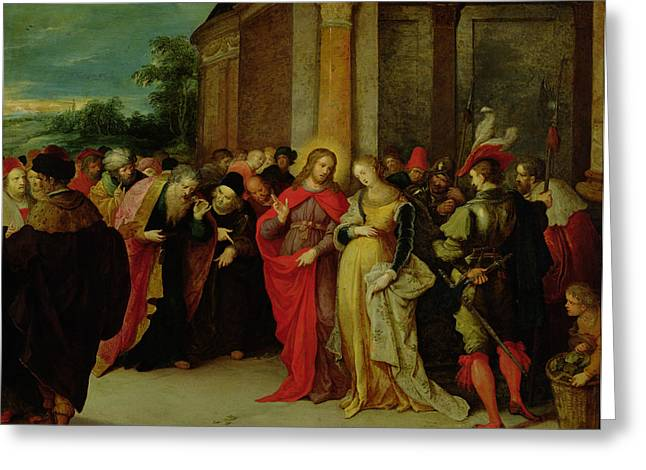 Christ And The Woman Taken In Adultery Greeting Card by Frans II the Younger Francken