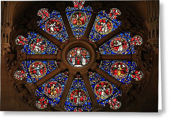 Christ Church Cathedral Rose Window Greeting Card by Stephen Stookey