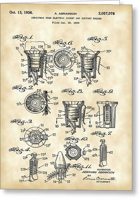 Christmas Bulb Socket Patent 1936 - Vintage Greeting Card by Stephen Younts