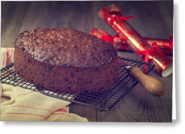 Christmas Cake Greeting Card by Amanda Elwell