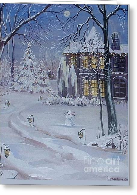 Christmas Cottage Greeting Card by Margaryta Yermolayeva