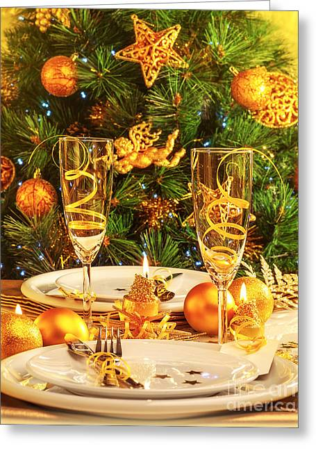 Christmas Dinner In Restaurant Greeting Card by Anna Om
