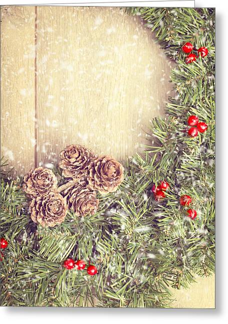 Christmas Garland Greeting Card by Amanda Elwell