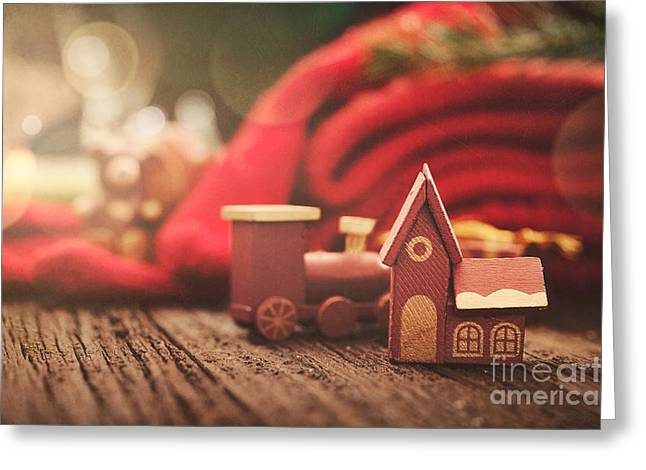 Christmas Rustic Decoration Greeting Card by Mythja  Photography