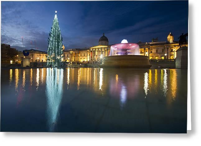 Christmas  Tree Trafalgar Square Greeting Card by David French