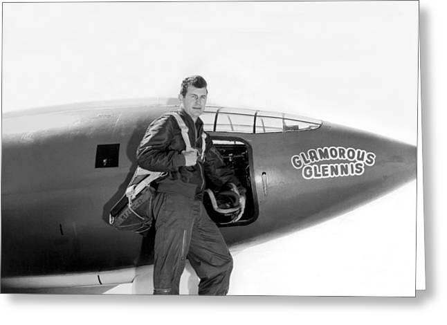 Chuck Yeager And Bell X-1 Greeting Card by Underwood Archives