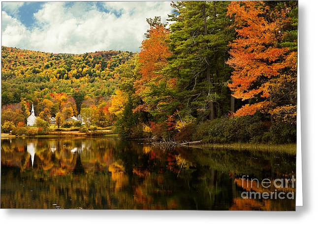Church By The Lake Greeting Card by Brenda Giasson