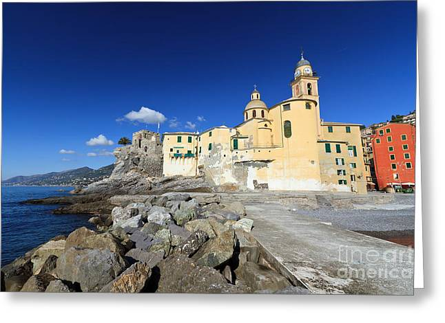 Greeting Card featuring the photograph church in Camogli by Antonio Scarpi