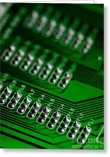 Circuit Board Bokeh Greeting Card by Amy Cicconi