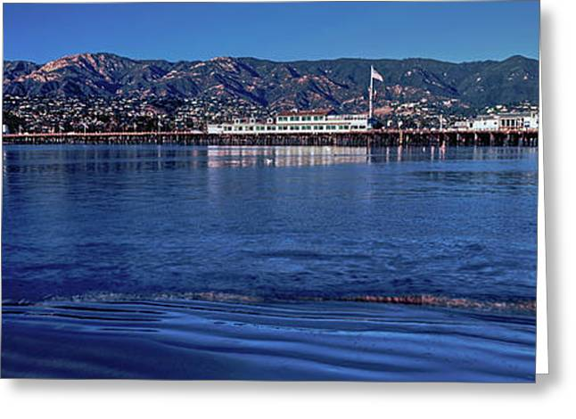 City And Pier At Waterfront, Santa Greeting Card by Panoramic Images